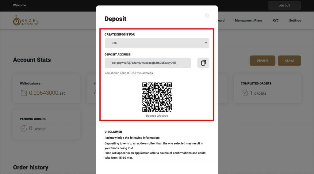 Bezel wallet's deposit address